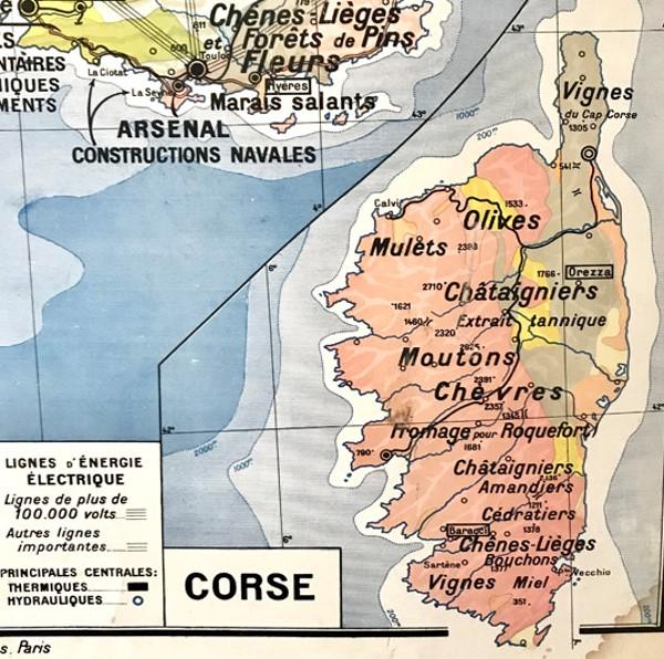 carte scolaire Midi et Méditerranéen, détail (régions naturelles de la France par Paul Kaeppelin, 1960)