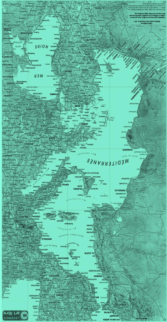 Réintreprétation de la carte de Sabine Réthoré, Méditerannée Sans frontière, Robba 2021